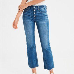 American Eagle Hi-Rise Crop Flare Jeans Raw Hem 8